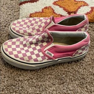 Girls checkered vans slip on's